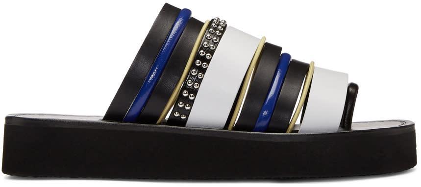 31 Phillip Lim Black and White Multi Stripe Eva Sandals