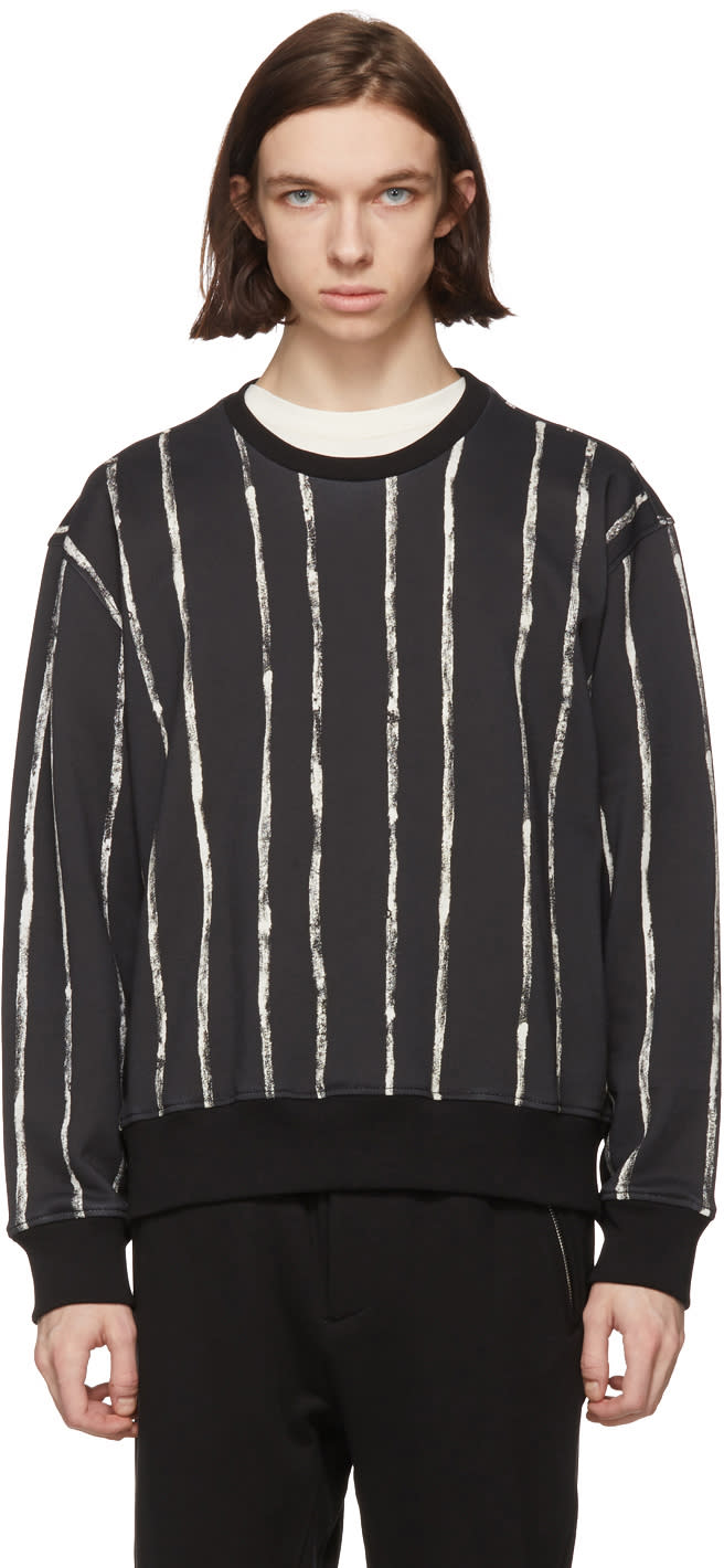 31 Phillip Lim Black and White Painted Stripes Sweatshirt