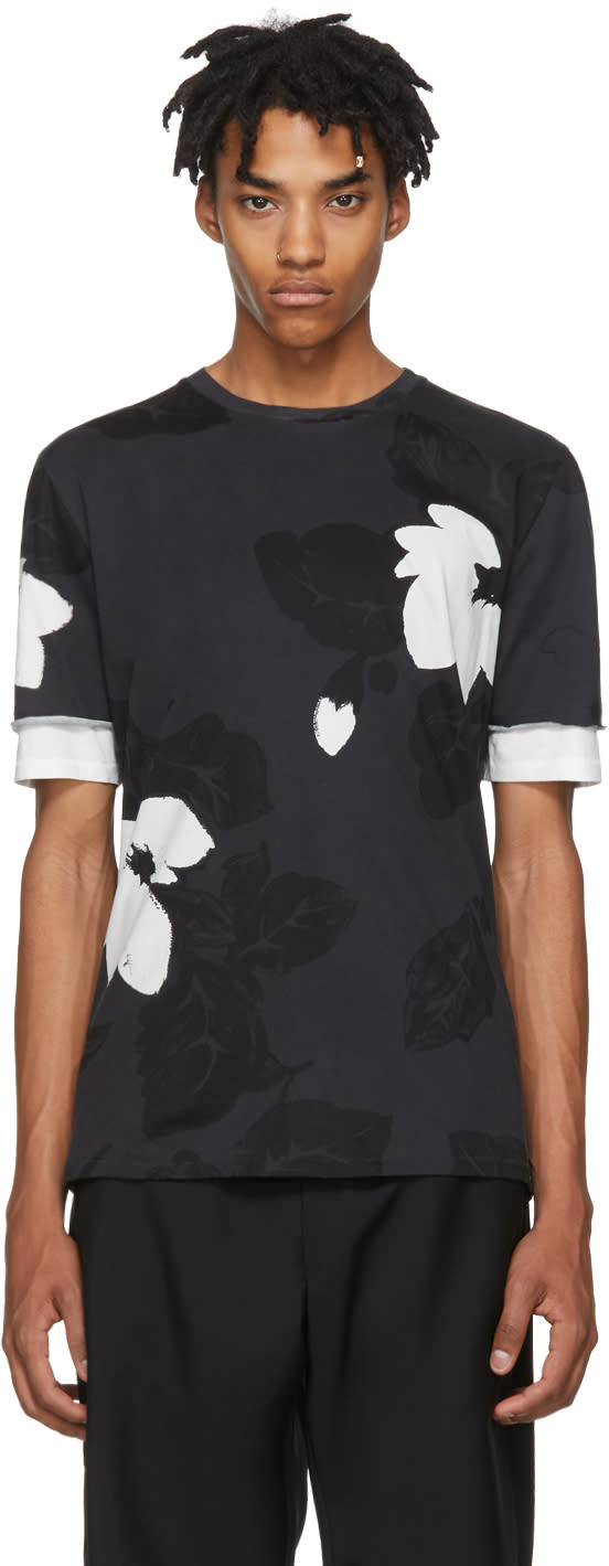 31 Phillip Lim Black Floral Double Sleeve T shirt
