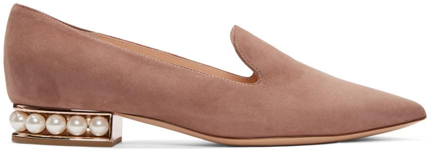 Nicholas Kirkwood Pink Suede Casati Pearl Loafers