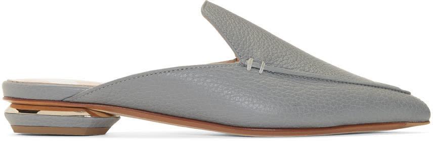 Nicholas Kirkwood Grey Leather Beya Mules