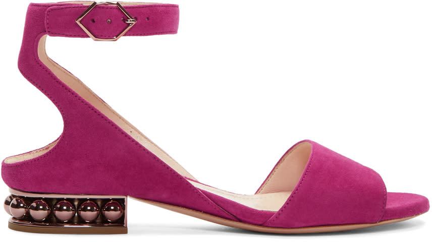 Nicholas Kirkwood Pink Suede Lola Pearl Sandals