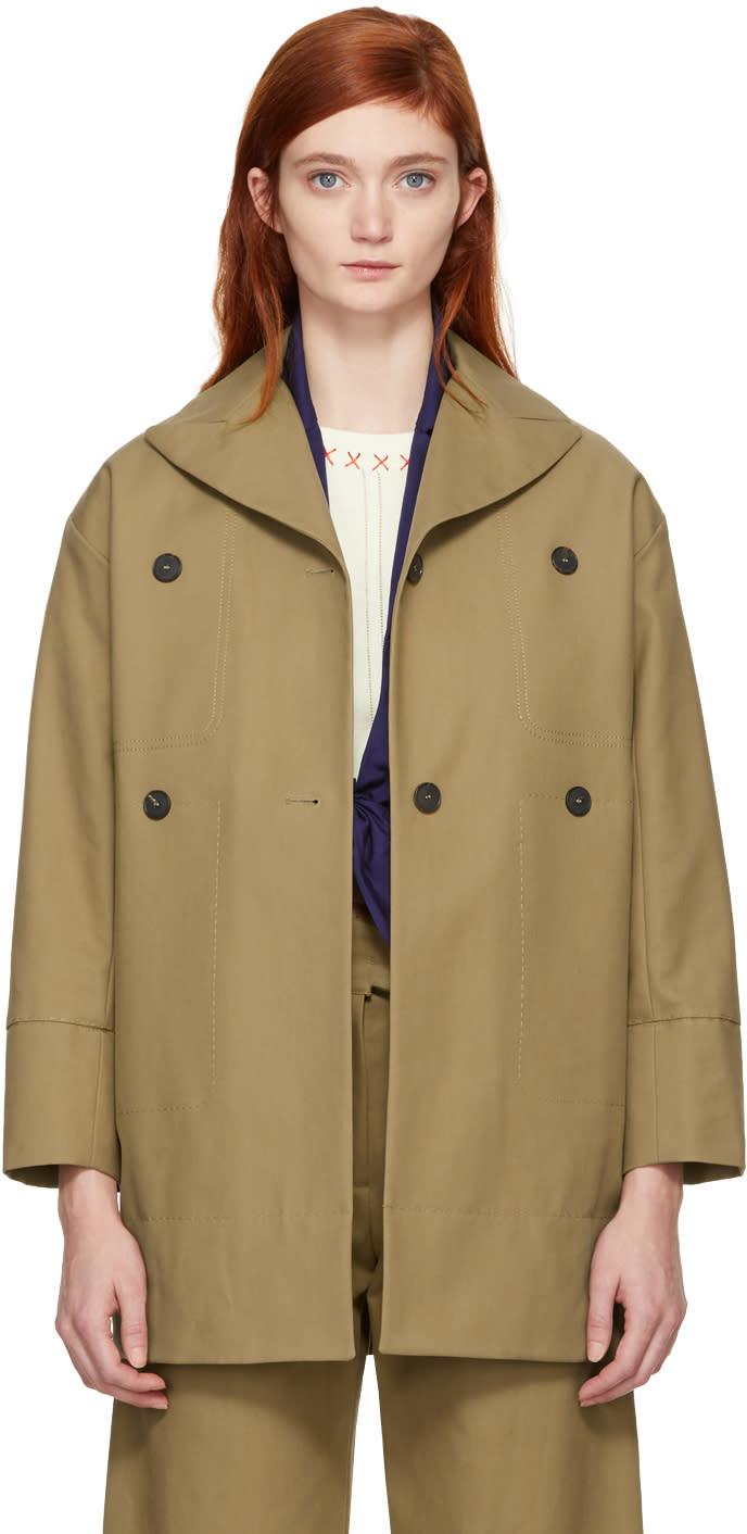 Image of Carven Beige Cotton Coat