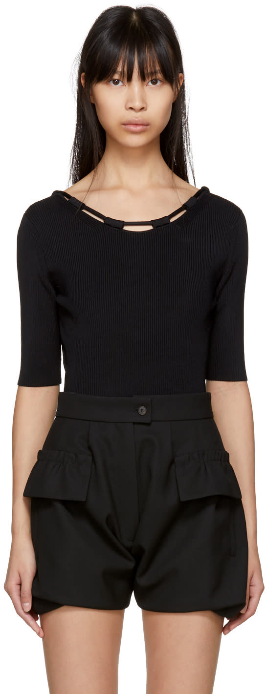 Image of Carven Black Basic Knit Bodysuit