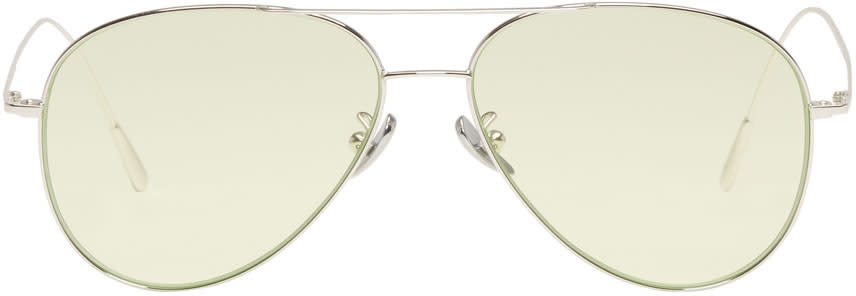 Image of Cutler And Gross Silver and Green 1266 Sunglasses