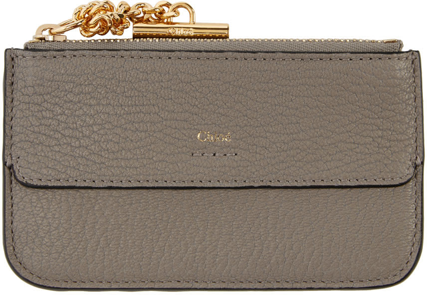ae4c0ef8 Chloé Grey Drew Zipped Card Holder