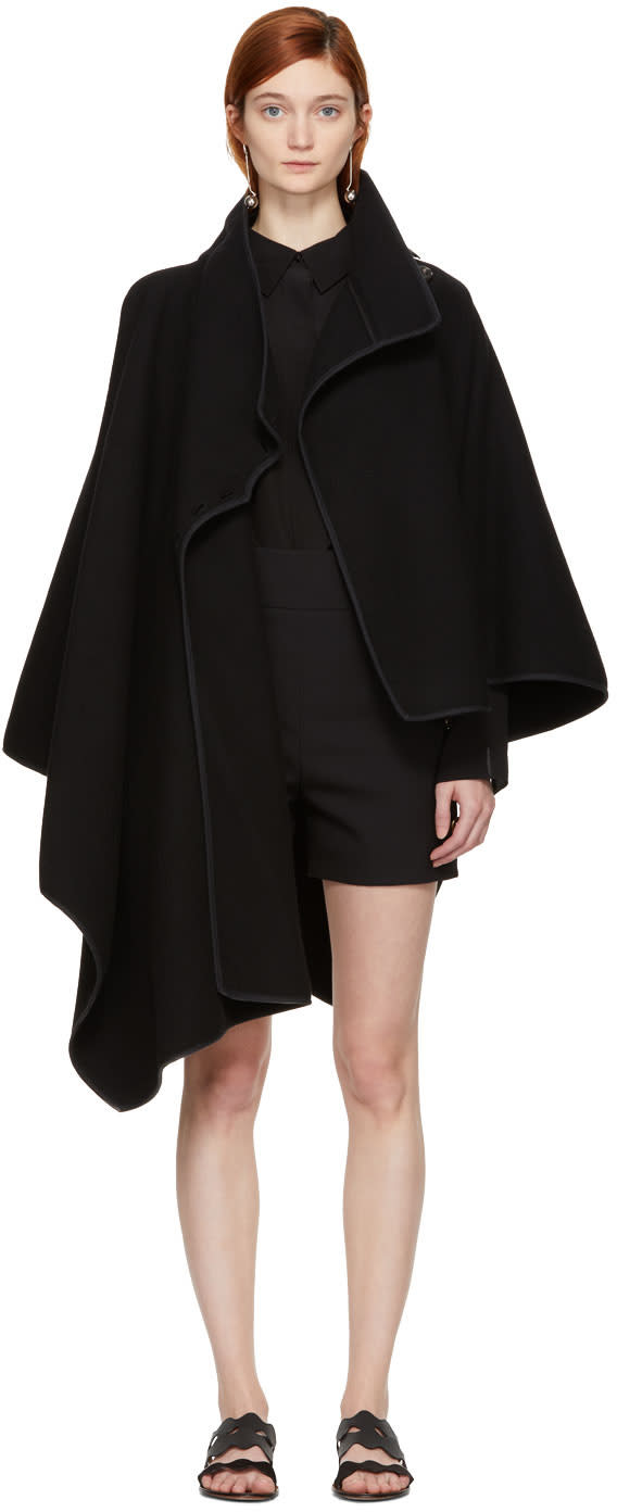Chloé Black Button Neck Cape Coat
