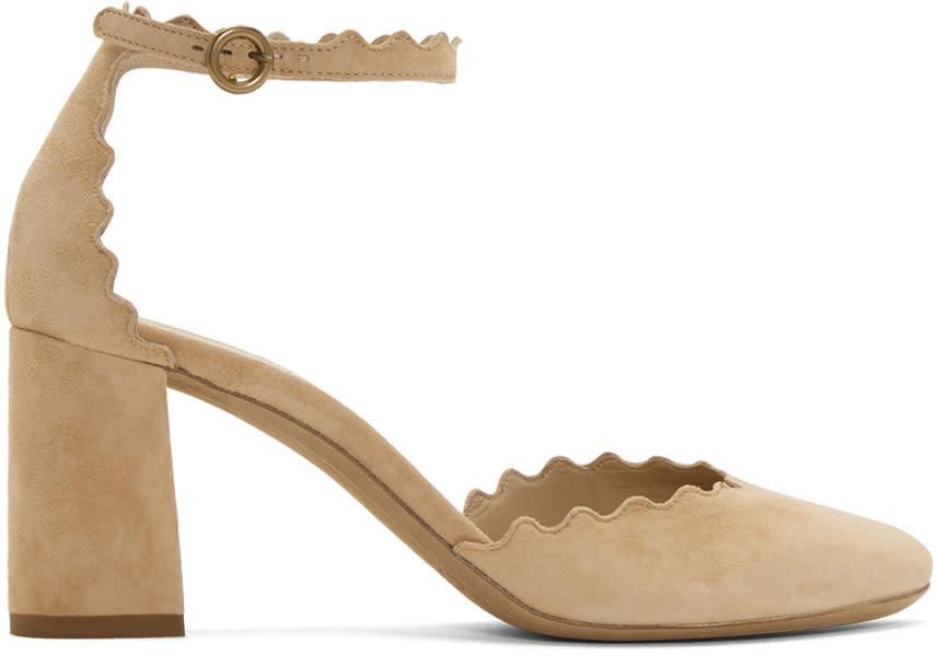 ChloéBeige Suede Lauren Ankle Strap Heels