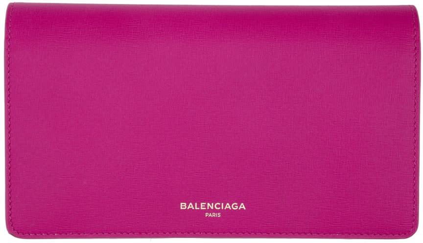 Balenciaga ピンク ロゴ コンチネンタル ウォレット