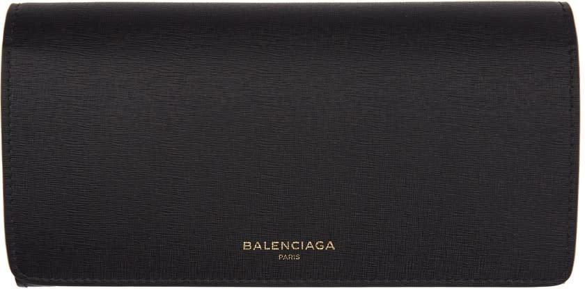 Balenciaga ブラック ロング フラップ ウォレット