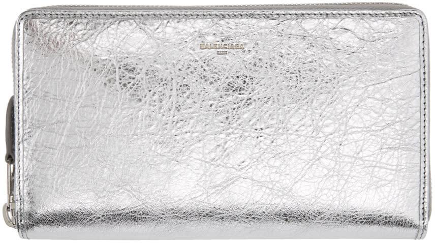 Balenciaga シルバー メタリック コンチネンタル ウォレット