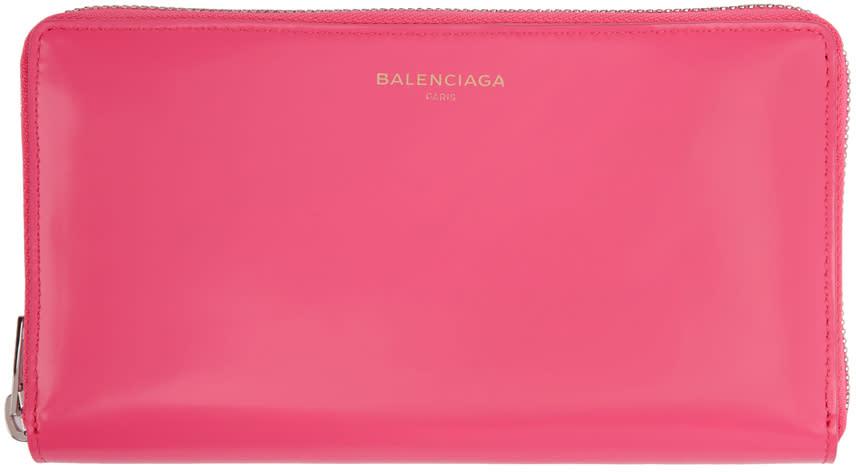 Balenciaga ピンク エッセンシャル ジップ アラウンド コンチネンタル ウォレット