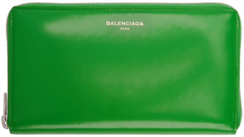 Balenciaga グリーン エッセンシャル コンチネンタル ウォレット