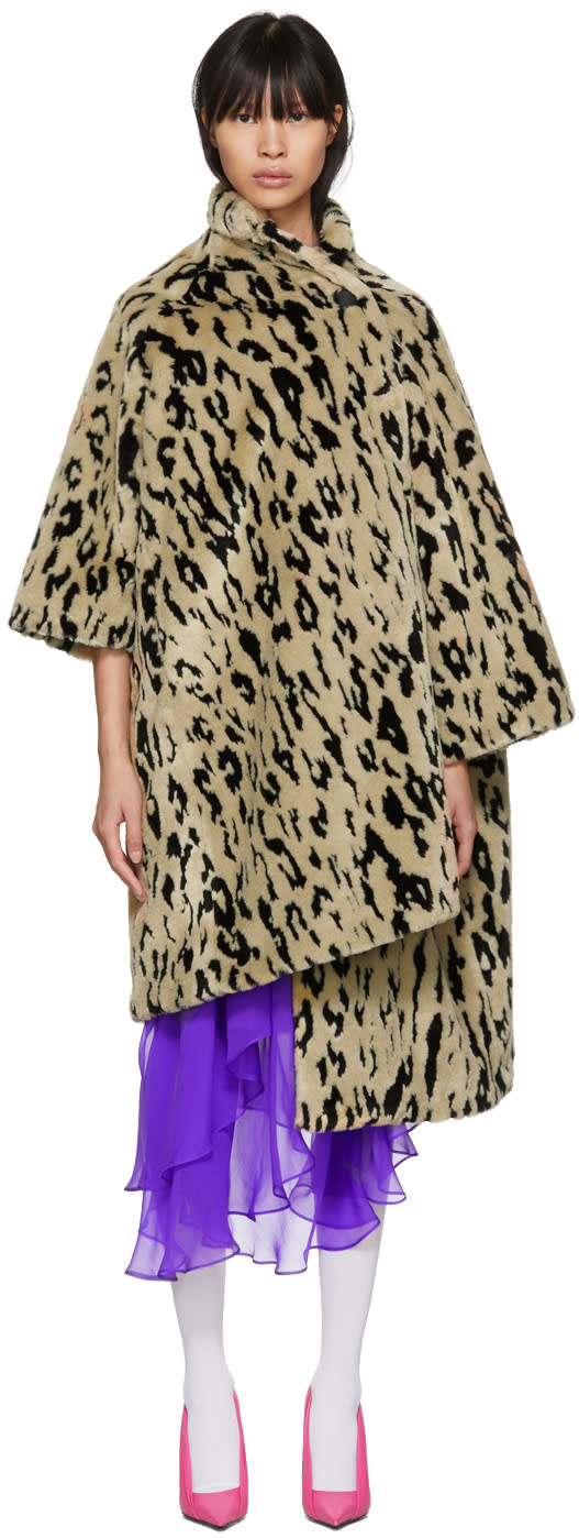 Balenciaga Beige Leopard Pulled Opera Coat