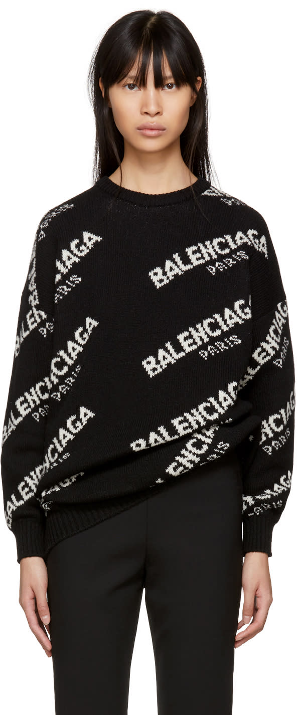 Image of Balenciaga Black All Over Logo Paris Sweater