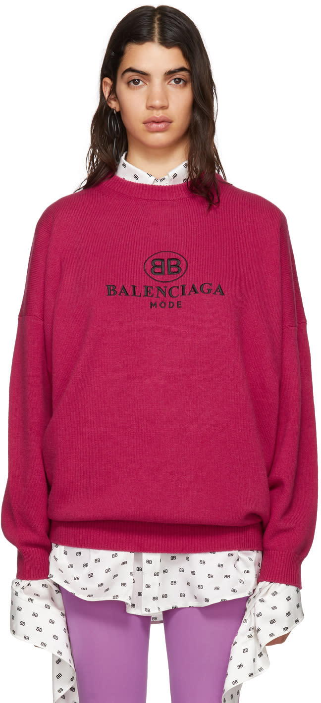 Balenciaga Pink bb Mode Embroidery Sweater