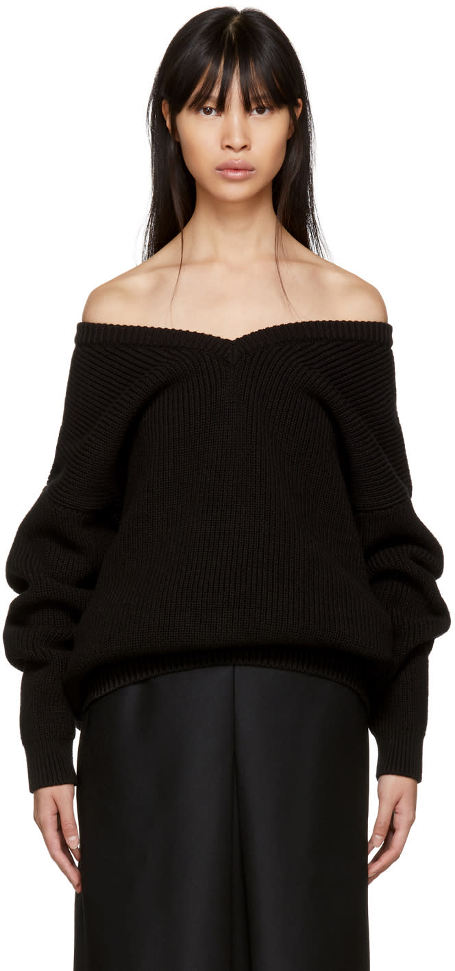 Balenciaga Black V-neck Off-the-shoulder Sweater