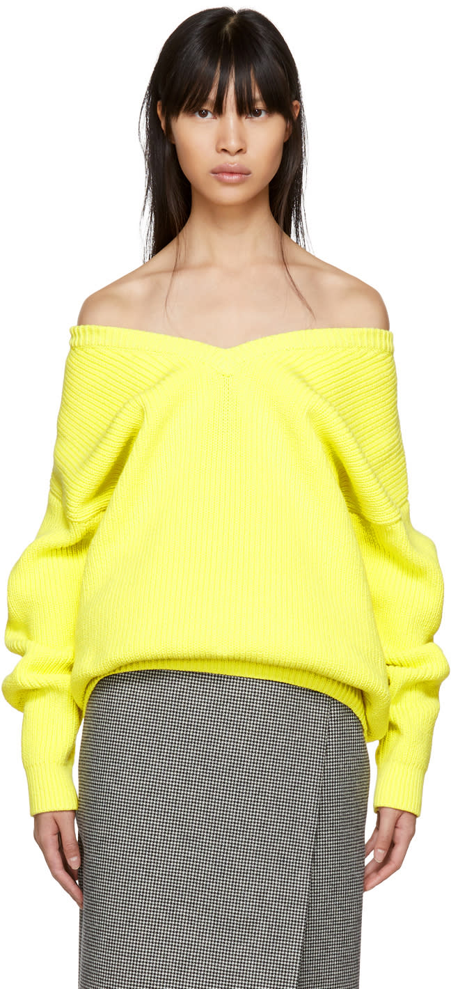 Balenciaga Yellow V-neck Off-the-shoulder Sweater