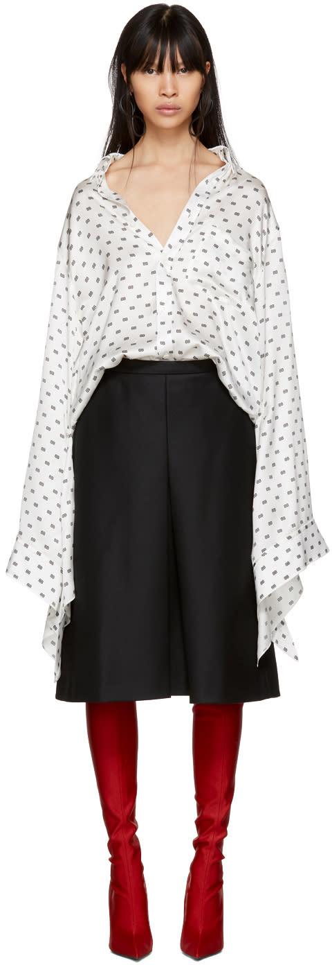 Balenciaga White All Over bb Knotted Cuff Shirt