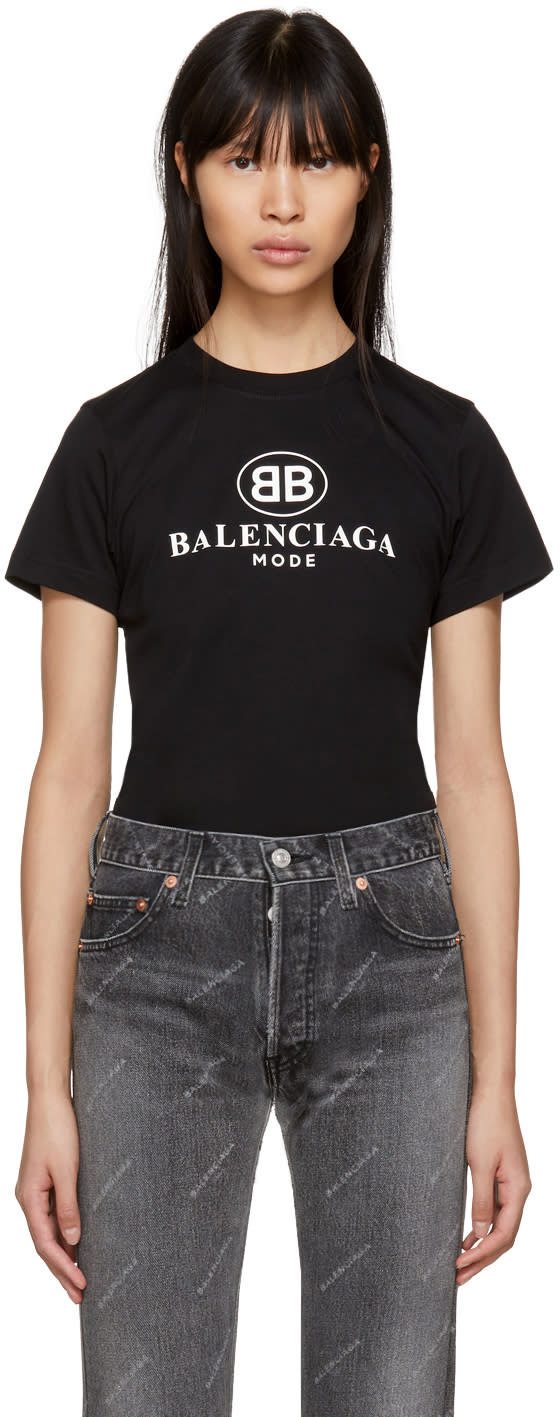 Image of Balenciaga Black bb Mode Semi Fitted T-shirt