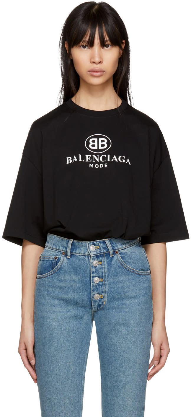 Image of Balenciaga Black bb Mode T-shirt