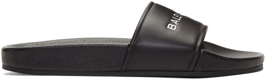 Balenciaga Black Logo Slides