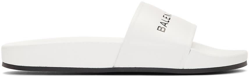 Balenciaga White Logo Slides