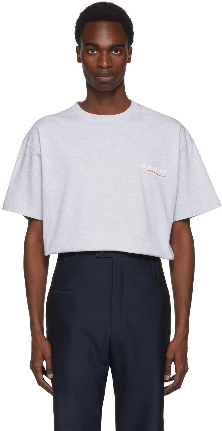 690cbd335b27 Balenciaga Grey Campaign Logo T shirt