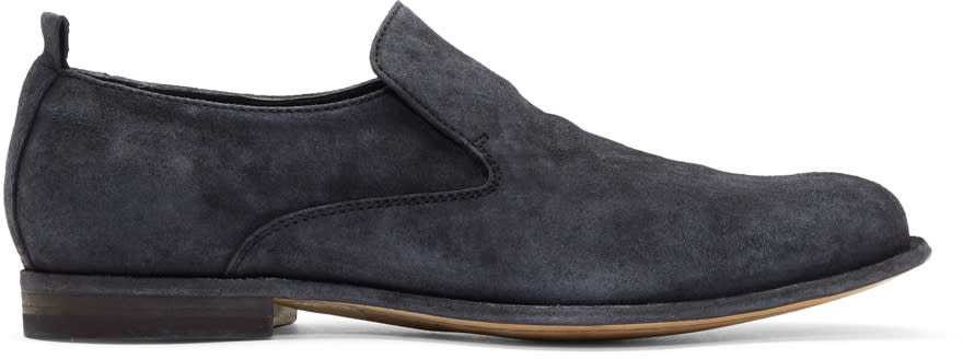 Officine Creative Black Suede Mono 7 Loafers
