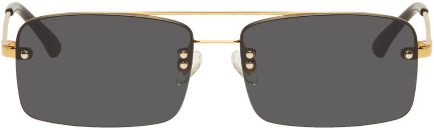 8b3719bbfc Dries Van Noten Gold and Black Linda Farrow Edition 156 C1 Sunglasses