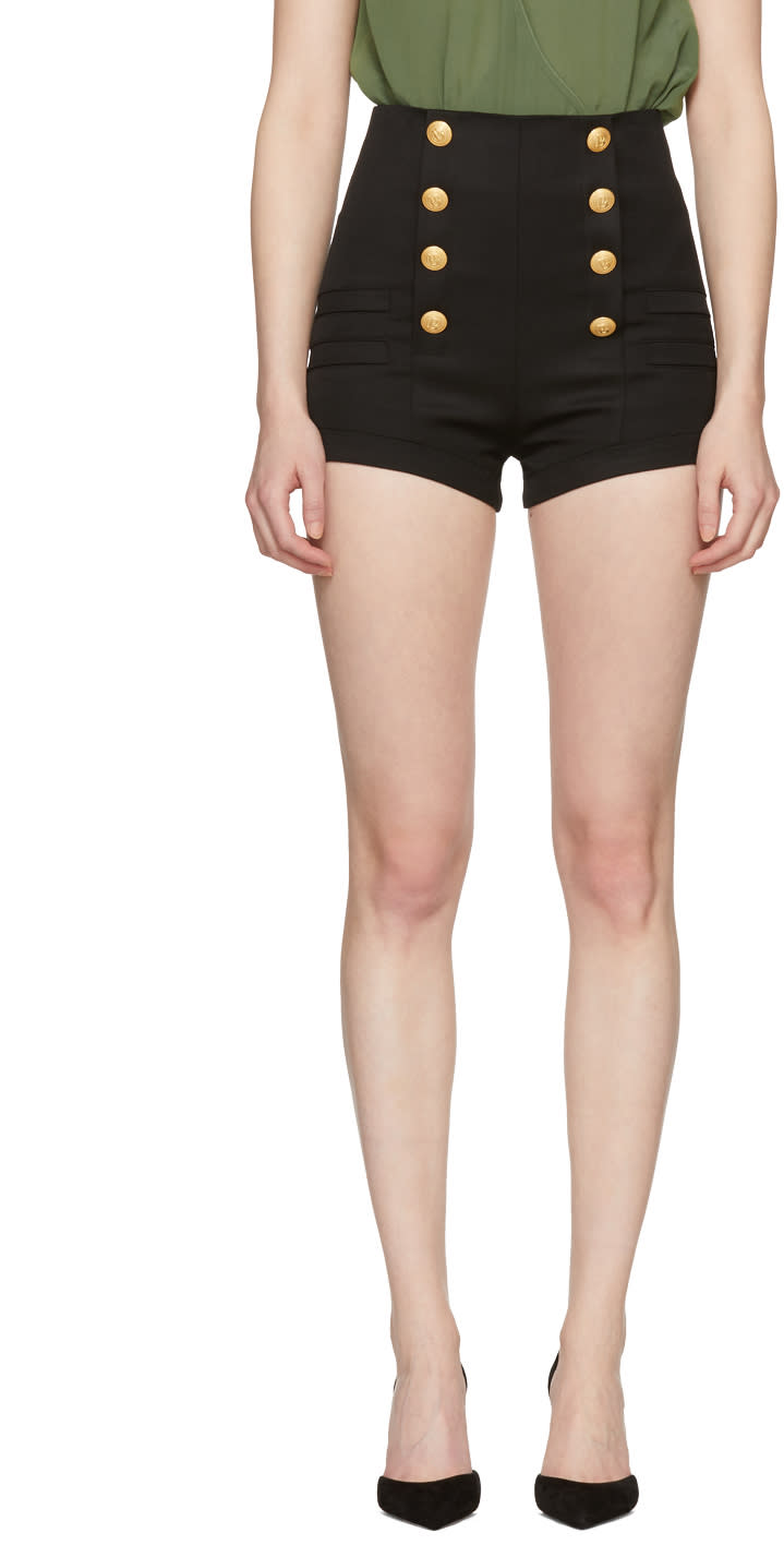 9e6fe30d2242 Pierre Balmain Black Wool Button Shorts