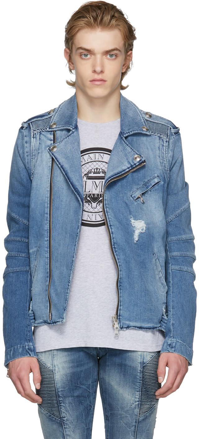 de0475ef07 Pierre Balmain Blue Denim Biker Jacket