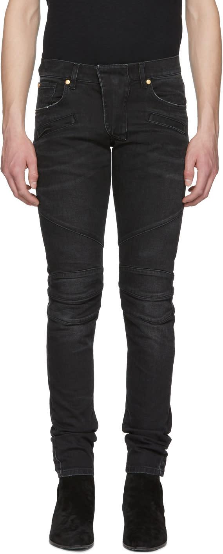 3cca9cbcdf6e Pierre Balmain Black Biker Jeans