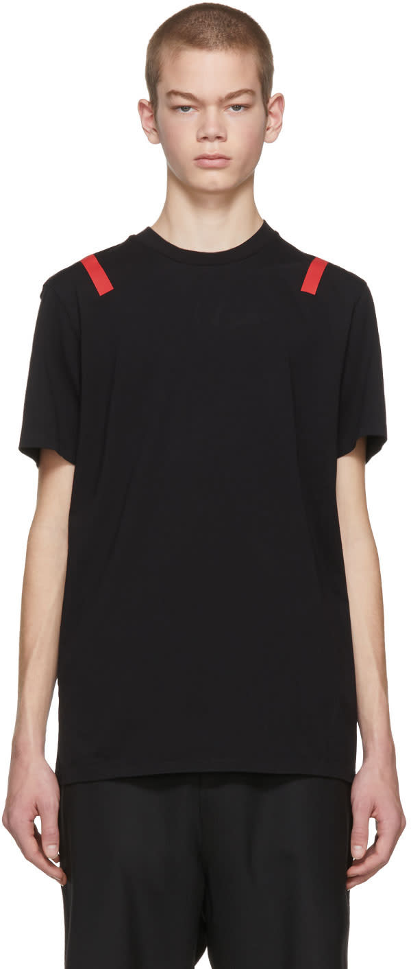 Image of Neil Barrett Black and Red Taped Shoulder T-shirt