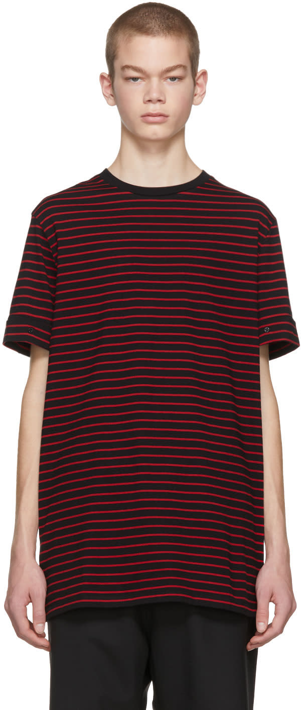 Image of Neil Barrett Black and Red Striped Roll Up Sleeve T-shirt