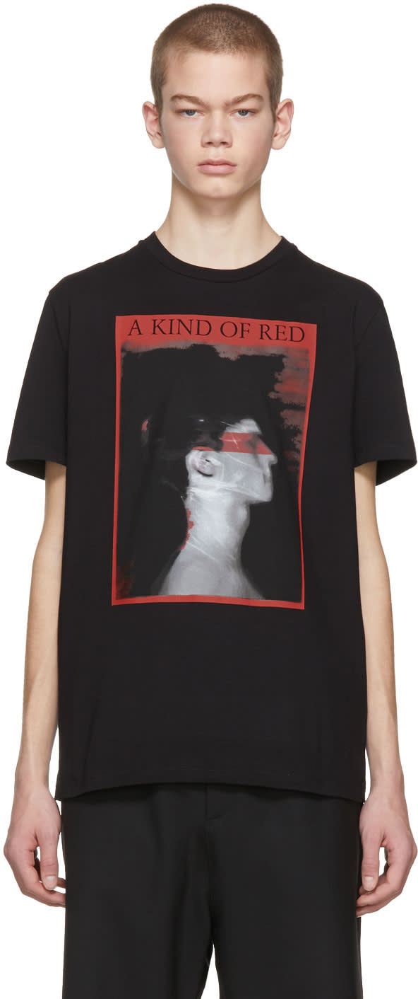 Image of Neil Barrett Black a Kind Of Red T-shirt