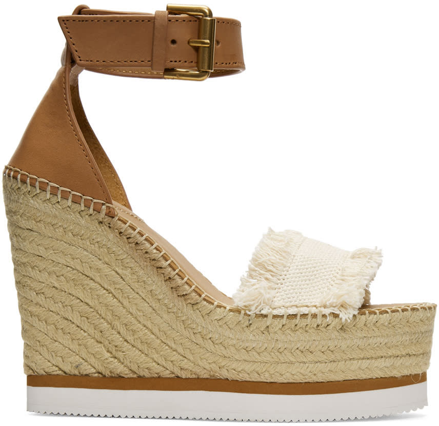 Image of See By Chloé Beige Espadrille Wedge Sandals