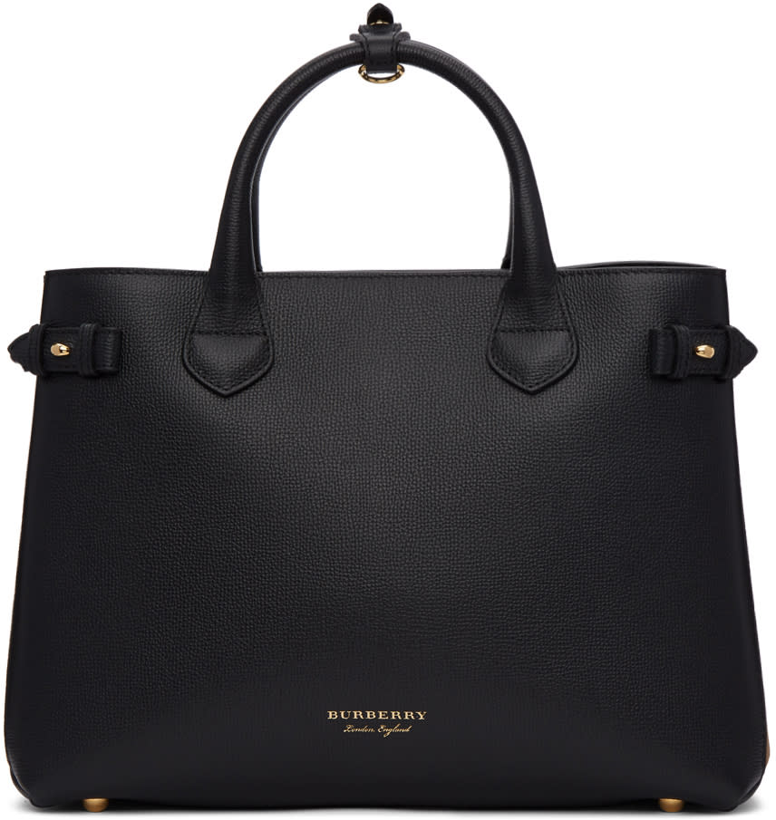 Image of Burberry Black and Tan Medium Banner Tote
