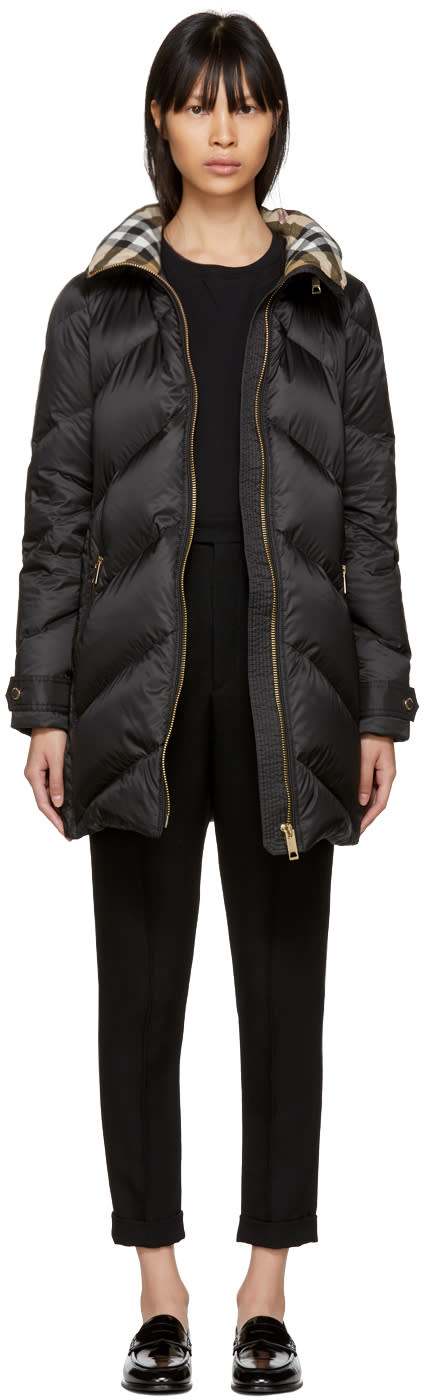 Burberry Black Down Quilted Chevron Coat
