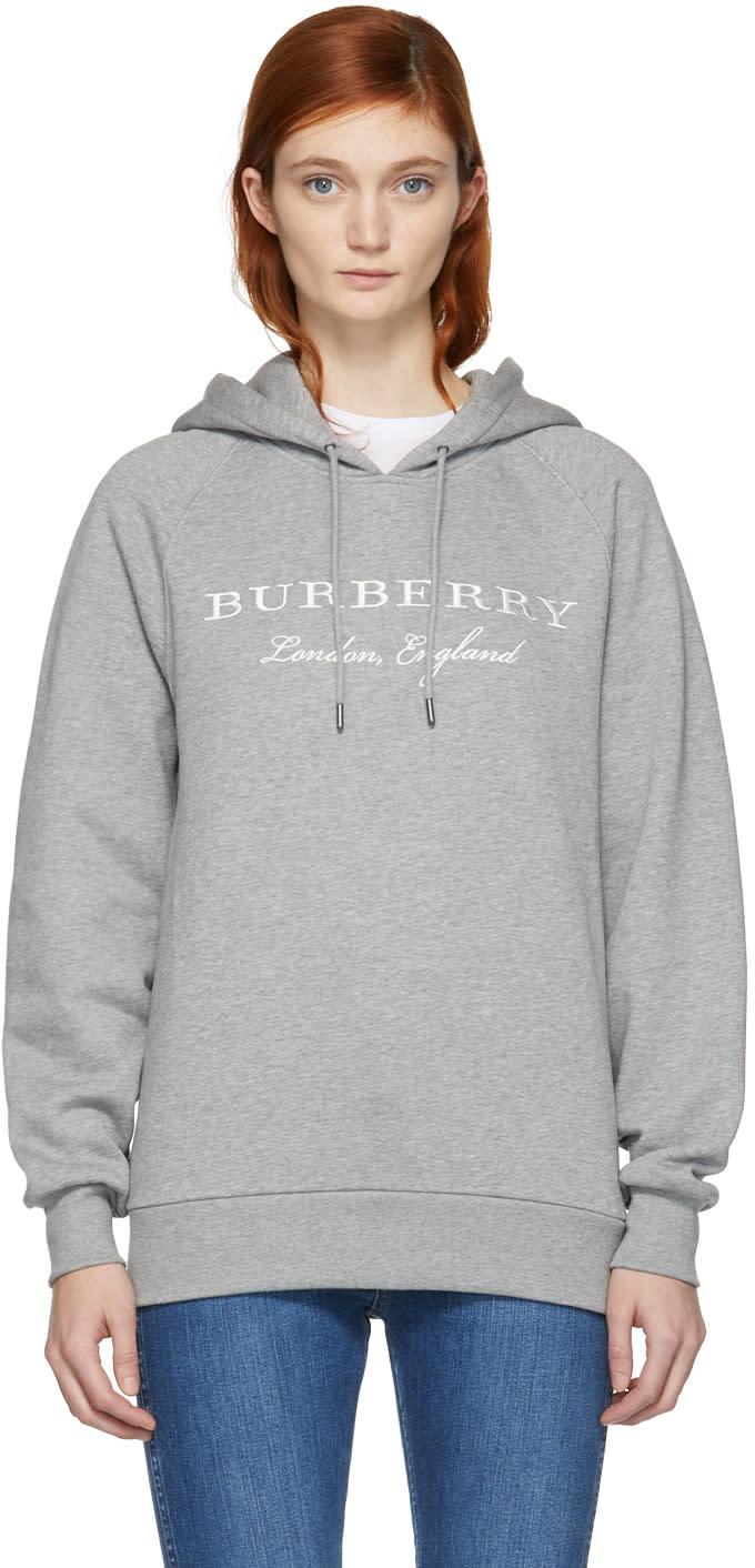 ceea9d67a56 Burberry Grey Slogan Logo Hoodie
