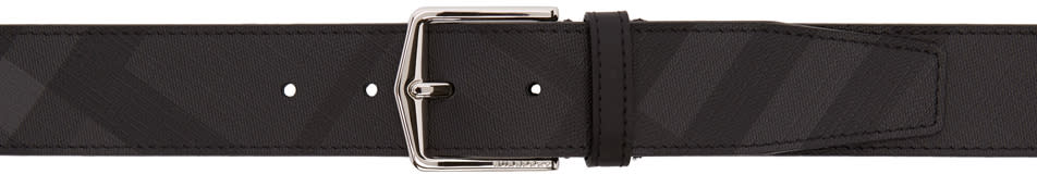 Image of Burberry Black and Grey London Belt