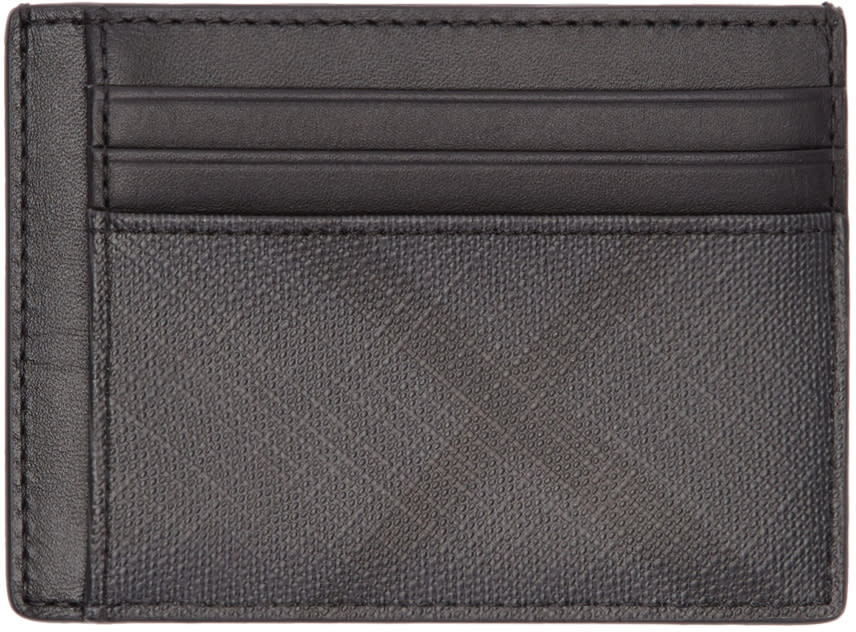 Image of Burberry Black and Grey London Check Card Holder