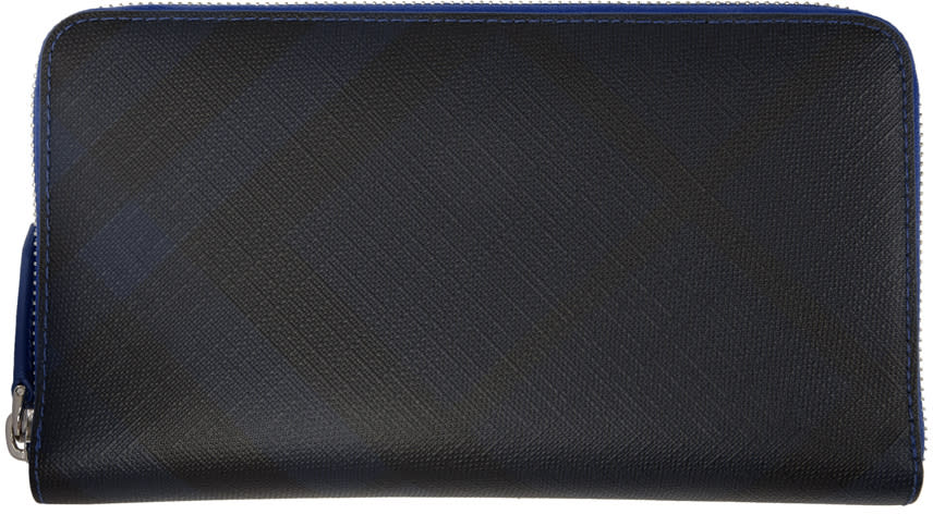 Image of Burberry Black and Navy London Renfrew Around Wallet