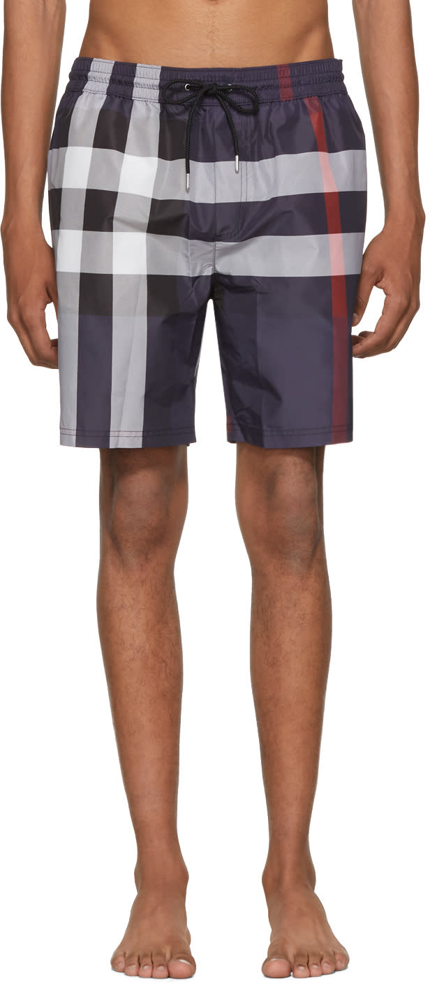 efc29d237e Burberry Navy Check Guildes Swim Shorts