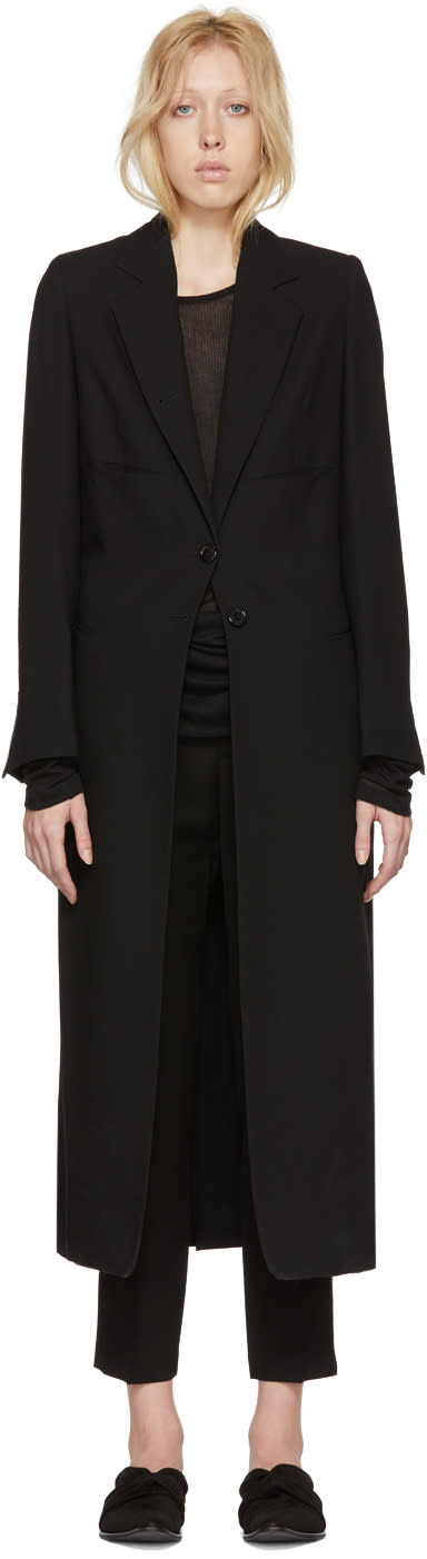 Ann Demeulemeester Black Lightweight Wool Coat