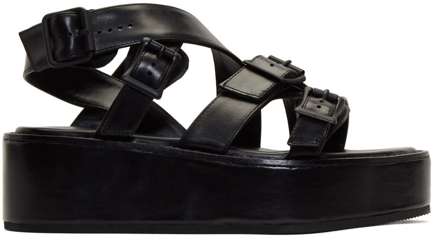 Ann Demeulemeester Black Strappy Leather Sandals