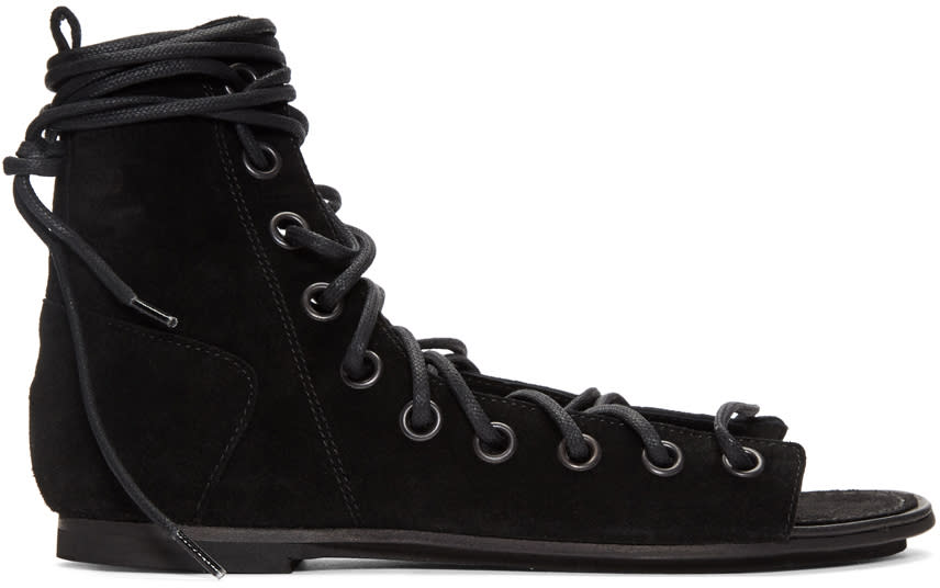 Ann Demeulemeester Black Suede Lace-up Sandals