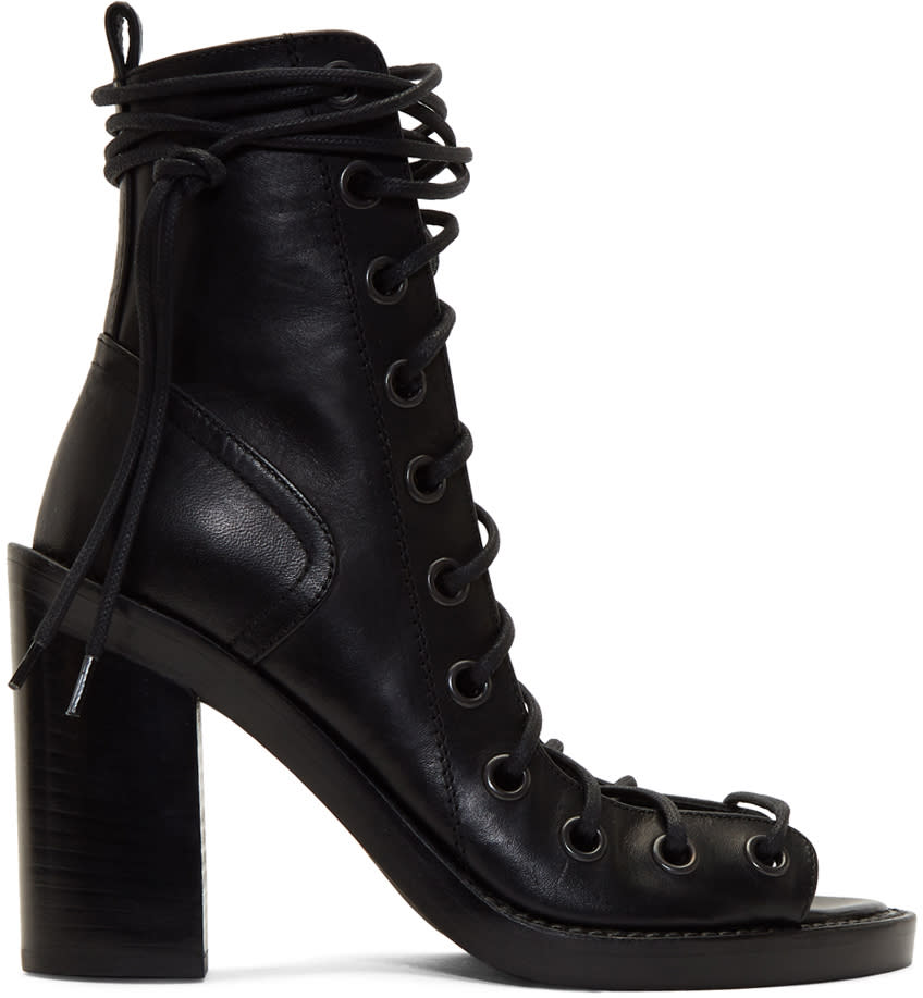 Ann Demeulemeester Black Strappy Heeled Sandals