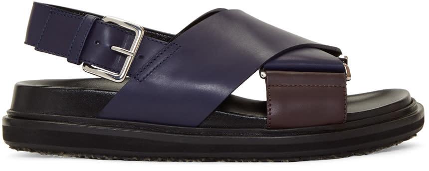Marni Navy and Burgundy Fussbett Sandals