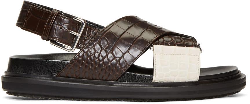 Marni Brown and White Croc Fussbett Sandals
